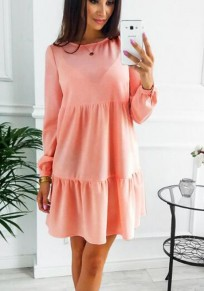 Pink Plain Ruffle Round Neck Going out Mini Dress