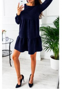 Sapphire Blue Plain Ruffle Round Neck Going out Mini Dress