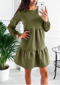 Army Green Plain Ruffle Round Neck Going out Mini Dress
