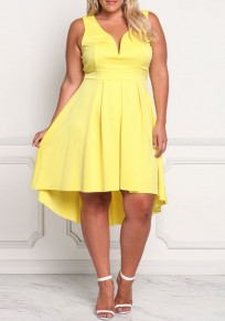 Yellow Irregular Pleated High-Low Plus Size Homecoming Party Maxi Dress