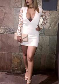 Weiß Patchwork Grenadine Reißverschluss Tief V-Ausschnitt Bodycon Vereinwear Party Mini Kleid