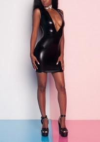 Black Zipper PU Leather Deep V-neck Sparkly Bodycon Clubwear Mini Dress