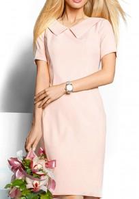 Mini-robe fermeture éclair col claudine manches courtes élégant rose