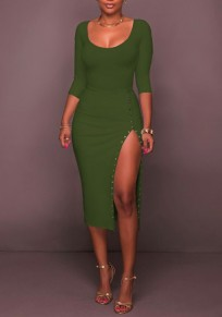 Green Rivet Side Slit Bodycon 3/4 Sleeve Round Neck Party Maxi Dress