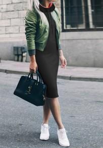 Midi vestido bolsillos cordón cuello alto manga larga moda negro