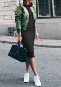 Black Pockets Drawstring High Neck Long Sleeve Fashion Midi Dress