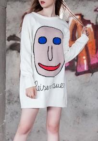 Weißes Cartoon Drucken Oversize Rundhals Langarm Beiläufige Minikleid Jerseykleid Pulloverkleider