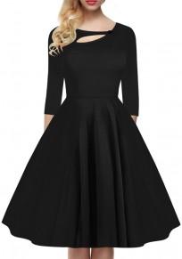 Vestido de algodón con pliegue recortado cuello rojoondo manga larga moda negro
