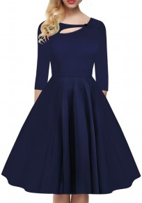 Mi-longue robe découpé plissé col rond manches 3/4 vintage de cocktail bleu foncé