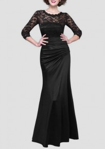 Black Patchwork Lace Draped Round Neck Elegant Maxi Dress