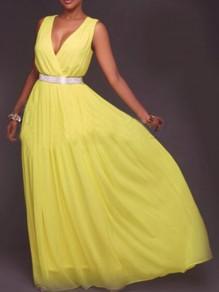 Yellow Patchwork Draped Belt High Waisted Deep V-neck Sleeveless Flowy Prom Beach Wedding Maxi Dress