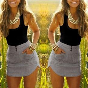 Black Studded Pockets Round Neck Fashion Mini Dress