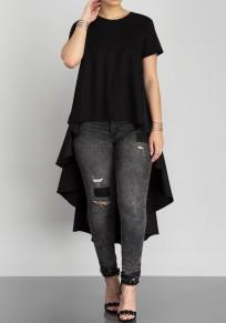 Black Draped Irregular Swallowtail High-Low Round Neck Short Sleeve Maxi Dress