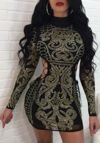 Black Patchwork Cut Out Drawstring Rhinestone Bodycon Party Mini Dress