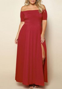 Red Draped Off Shoulder Backless Side Slit Plus Size Party Maxi Dress