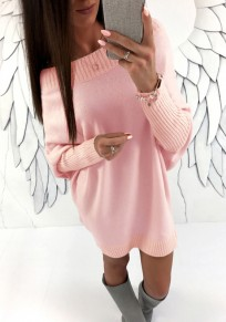 Pink Round Neck Long Sleeve Casual Dacron Mini Dress