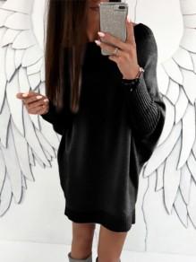 Schwarz Schulterfreies Langarm Damen Oversize Beiläufig Mode Strickpullover Longpulli Pulloverkleid