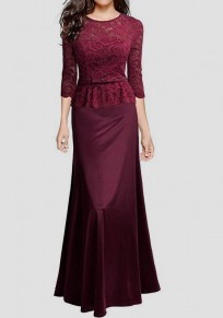 Wine Red Patchwork Lace Draped Zipper Round Neck Elegant Maxi Dress