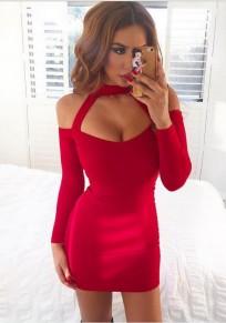 Mini vestidos espalda bodycon espagueti correa cuello halter fiesta de noche de baile rojo
