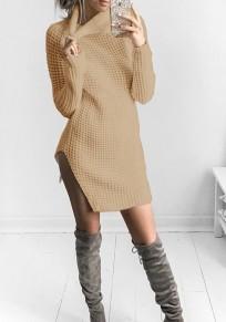 Khaki Ausschnitt Hoher Hals Langarm Mode Mini Kleid