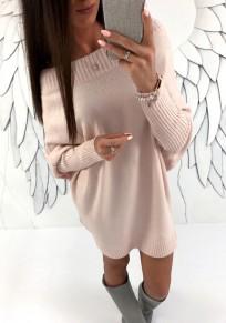 Hellrosa Schulterfreies Langarm Oversize Beiläufig Longpulli Strickpullover Minikleid Pulloverkleider