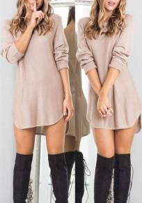 Mini robe plaine irrégulier col rond décontractée kaki