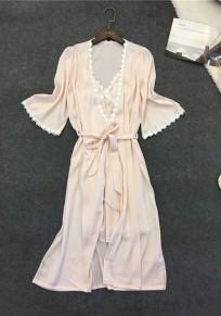Pink Patchwork Condole Belt Drawstring 2-in-1 Sweet Midi Dress