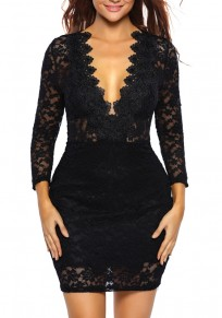 Black Floral Lace Bodycon Deep V-neck Long Sleeve Party Mini Dress