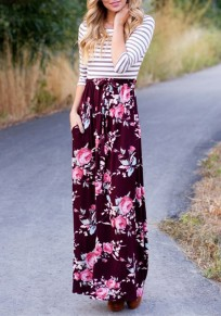 Wine Red Floral Sashes Pockets Round Neck Casual Maxi Dress