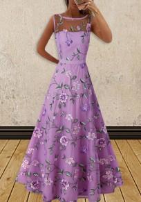 Purple Patchwork Floral Grenadine Round Neck Sleeveless Elegant Wedding Gowns Maxi Dress