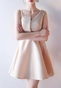 Mini-robe fermeture éclair drapée asymétrique épaule une ligne kaki