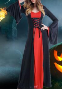 Robe maxi drapé cordon de serrage nouveauté fête d'halloween noir-rouge