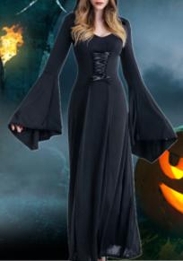 Vestido largo drapeado cordón novedad fiesta de halloween negro