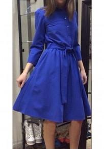 Mi-longues robe avec noeud papillon ceinture plissé manches longues rétro de soirée bleu
