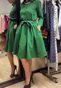 Green Pleated Belt Single Breasted Long Sleeve Fashion Midi Dress