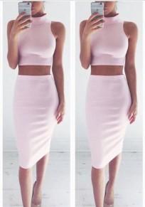 Traje de midi llanura cropped 2 en 1 cuello alto moda rosado