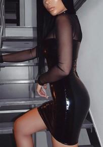 Schwarz Mesh Transparente Latex Stehkragen Wetlook Bodycon Verein Mini Kleid Partykleid