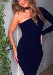 Navy Blue Asymmetric Shoulder One Shoulder Halter Neck Bodycon Party Midi Dress