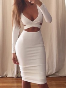 White Cut Out Bodycon Deep V-neck Long Sleeve Homecoming Prom Party Midi Dress