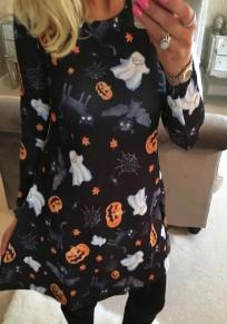 Schwarz Halloween Kürbis Druck Rundhals Langarm Minikleid T-shirt Kleid Günstig Partykleider Kurz