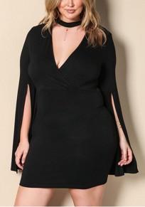 Mini-robe licou soirée de bal de grande taille fente manches en v-col noir
