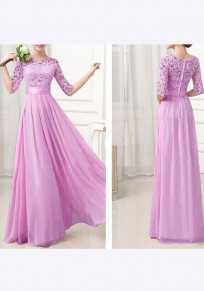 Lavender Purple Patchwork Lace Pleated Half Sleeve Beach Weddings Bridesmaid Elegant Maxi Dress