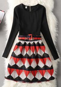 Mini-robe fermeture à glissière géométrique col rond mode rouge
