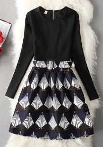 Blau Geometrische Gürtel Reißverschluss Rundhals Mode Mini Kleid