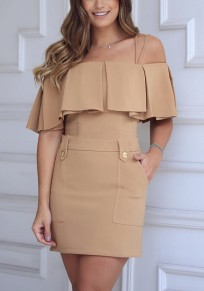 Brown Plain Zipper Pockets Ruffle Condole Belt Boat Neck Fashion Mini Dress