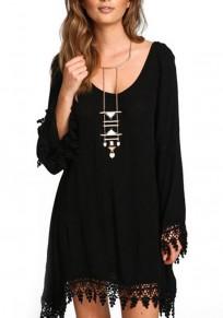 Black Patchwork Tassel Backless Scoop Neck Long Sleeve Casual Mini Dress