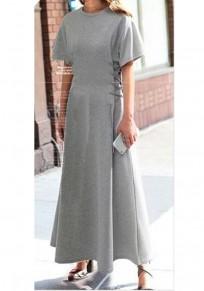 Grey Drawstring Draped Round Neck Short Sleeve Maxi Dress