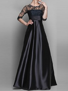 Black Patchwork Lace Zipper Rhinestone A-Line Elegant Maxi Dress