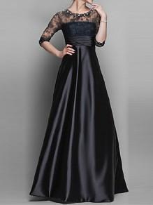 Robe longue avec dentelle strass col ronde manches 3/4 élégant de soirée noir