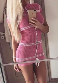 Mini-robe cordon d'imprimé rayé col rond mode rose